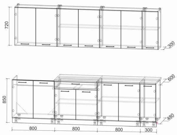Размеры и схема кухни Мила Лайт 2,7