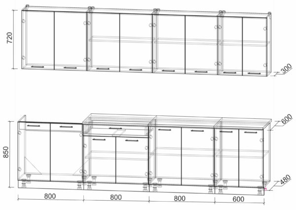 Размеры и схема кухни Мила Лайт 3,0
