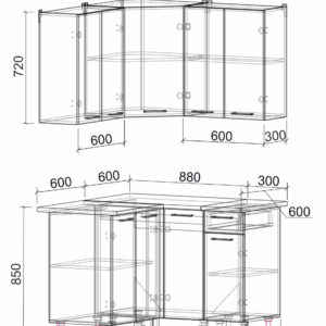 Размеры и схема кухня Мила Лайт ЛДСП угловая 1,2 х 1,2