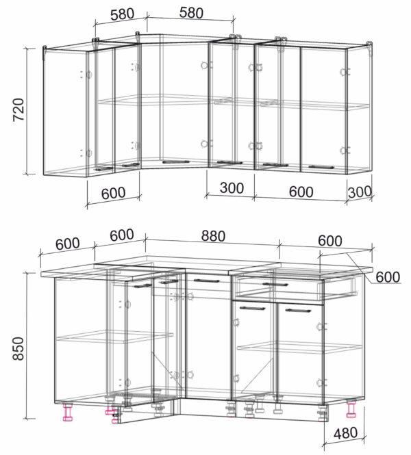 Размеры и схема кухня Мила Лайт ЛДСП угловая 1,2 х 1,5