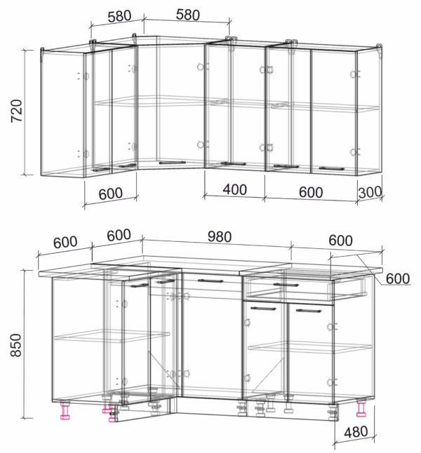 Размеры и схема кухня Мила Лайт ЛДСП угловая 1,2 х 1,6