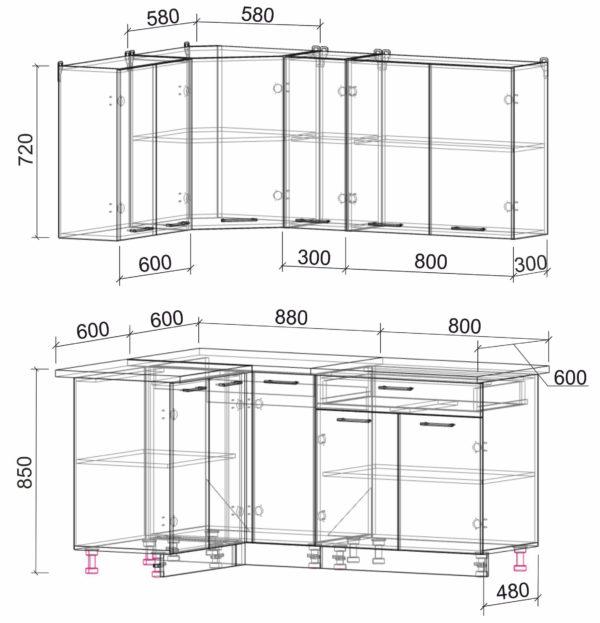 Размеры и схема кухня Мила Лайт ЛДСП угловая 1,2 х 1,7