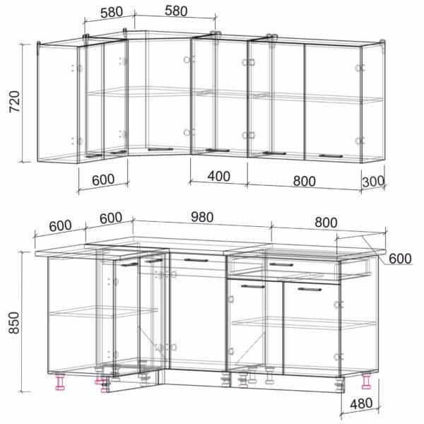 Размеры и схема кухня Мила Лайт ЛДСП угловая 1,2 х 1,8