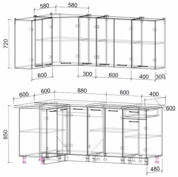 Размеры и схема кухня Мила Лайт ЛДСП угловая 1,2 х 1,9