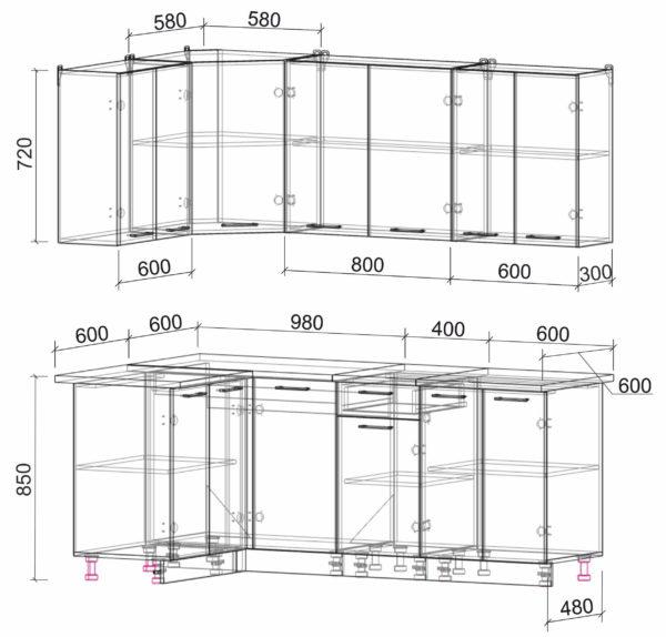 Размеры и схема кухня Мила Лайт ЛДСП угловая 1,2 х 2,0