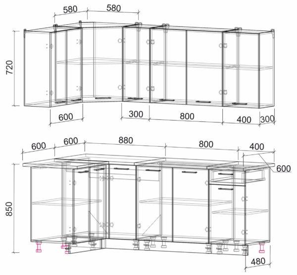 Размеры и схема кухня Мила Лайт ЛДСП угловая 1,2 х 2,1