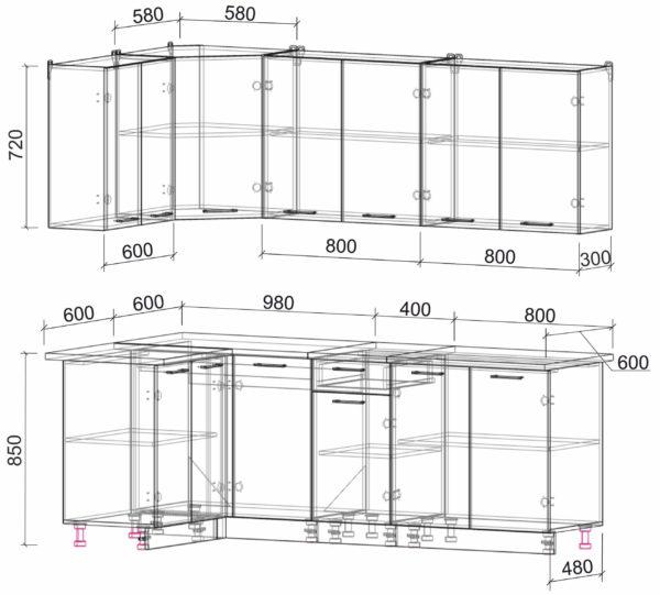 Размеры и схема кухня Мила Лайт ЛДСП угловая 1,2 х 2,2