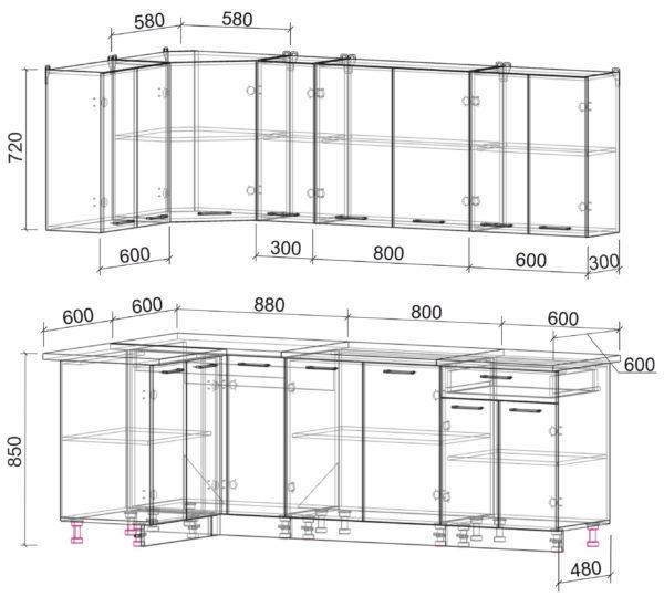 Размеры и схема кухня Мила Лайт ЛДСП угловая 1,2 х 2,3
