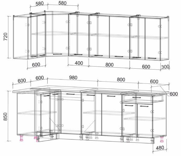 Размеры и схема кухня Мила Лайт ЛДСП угловая 1,2 х 2,4