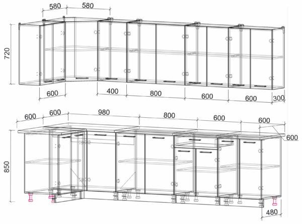 Размеры и схема кухня Мила Лайт ЛДСП угловая 1,2 х 3,0