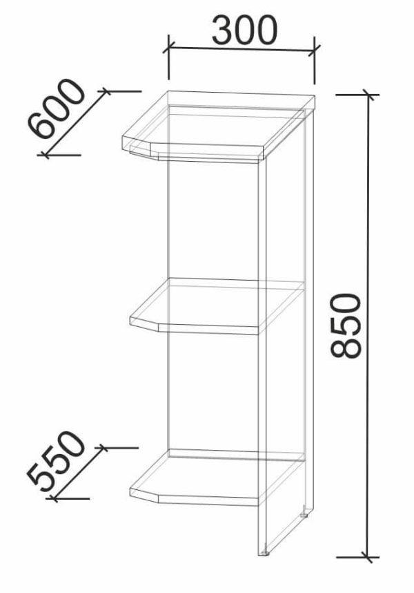 Размеры и схема нижняя полка НПз30 (Л) модуль