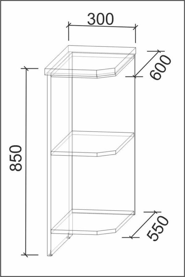 Размеры и схема нижняя полка НПз30 (П) модуль