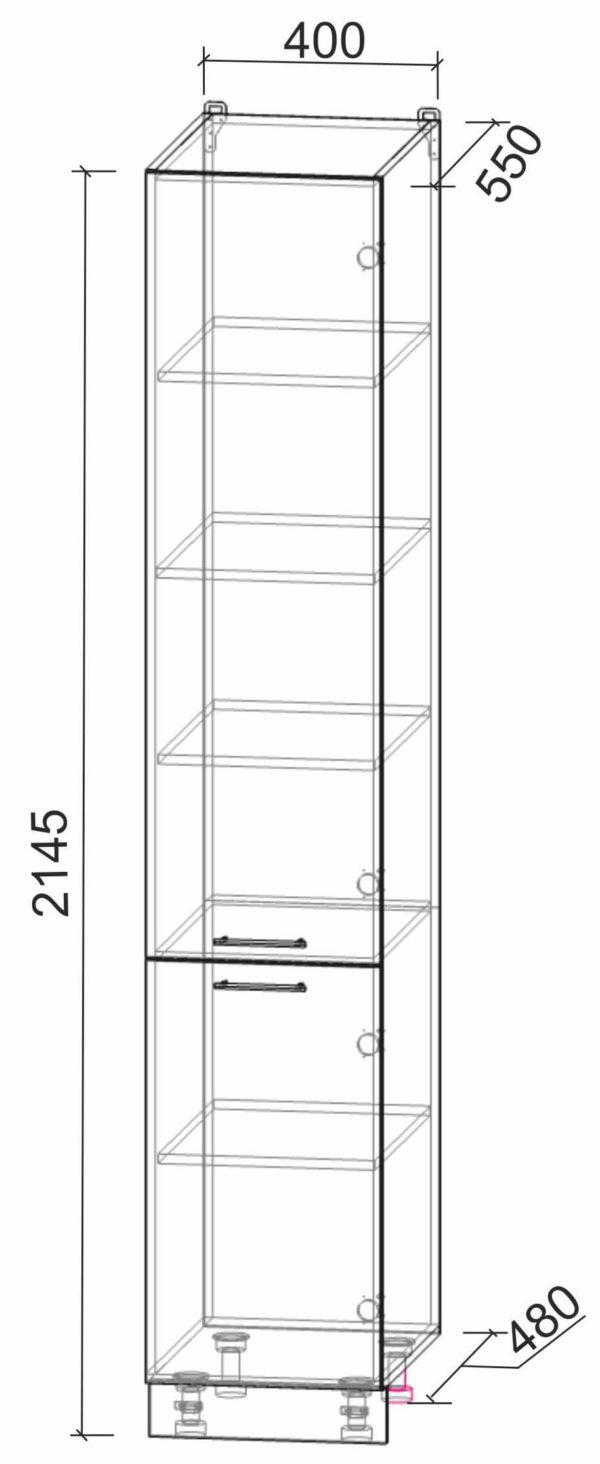 Размеры и схема шкаф пенал НШП-№2-2145 модуль