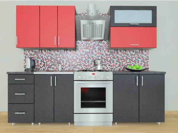 Кухня Симпл 21 МДФ глянцевая прямая 1,8 метра красный металлик черный металлик