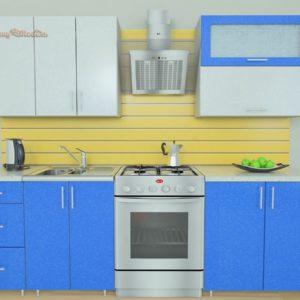 Кухня Симпл 26 МДФ глянцевая прямая 2,0 метра синий металлик серебристый