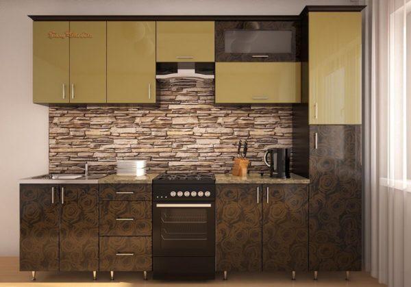 Кухня Симпл 28 МДФ глянцевая прямая 2,0 метра шампань роза бронза