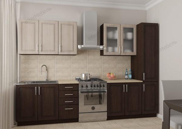 Кухня Симпл 32 МДФ прямая 2,1 метра венге темный венге светлый