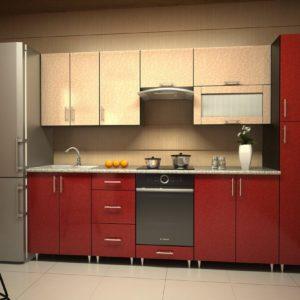Кухня Симпл 36 пластиковая прямая 2,2 метра флора кремовый красный
