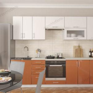 Кухня Симпл 38 МДФ глянцевая прямая 2,3 метра оранжевый металлик белый