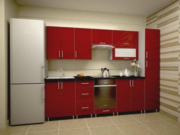 Кухня Симпл 40 пластиковая прямая 2,3 метра красный