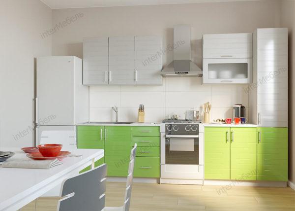 Кухня Симпл 47 МДФ глянцевая прямая 2,6 метра белый салатовый металлик