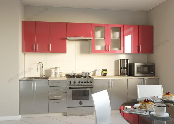Кухня Симпл 47 МДФ глянцевая прямая 2,6 метра темно серый металлик красный металлик