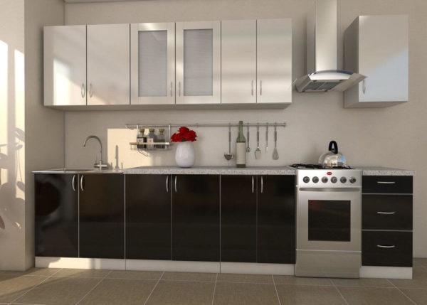 Кухня Симпл 47 пластиковая прямая 2,6 метра черно белая