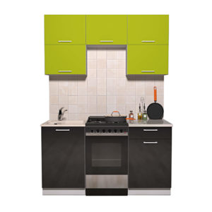 Кухня Мила Глосс МДФ прямая глянцевая 1,5 метра черный яблоко