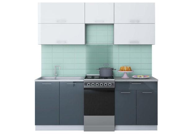 Кухня Мила Глосс МДФ прямая глянцевая 2,0 метра белый асфальт