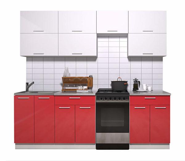 Кухня Мила Глосс МДФ прямая глянцевая 2,3 метра белый красный