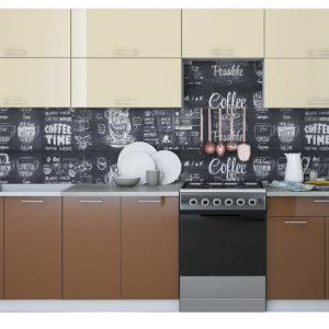 Кухня Мила Глосс МДФ прямая глянцевая 3,0 метра ваниль шоколад