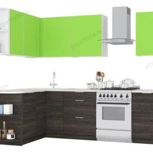 Кухня угловая MIX-19 ЛДСП Еггер 2,7*1,7 метра зеленый лимон венге