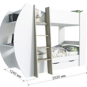 """Кровать-чердак """"Анеси-2"""" Белый – Сонома"""