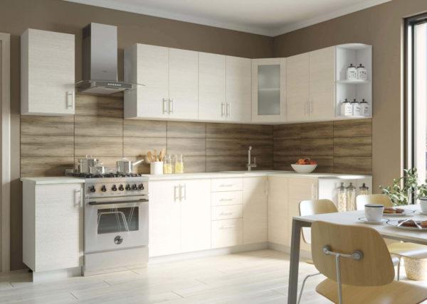 Угловая кухня Твист-17 ЛДСП Эггер 3,0*1,5 метра вудлайн кремовый
