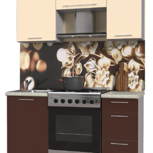 Кухня из пластика Мила 1,5 метра прямая категория А шоколад ваниль