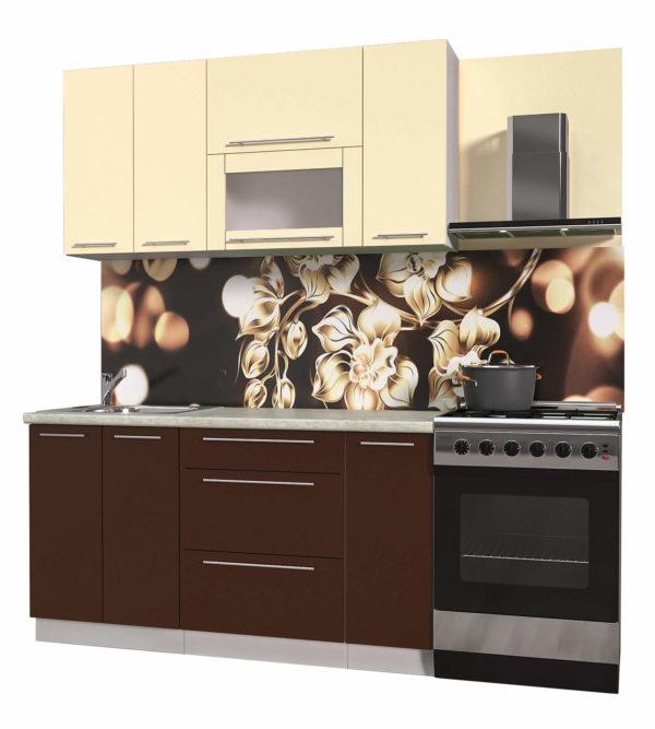 Кухня из пластика Мила 1,5 метра прямая категория В шоколад ваниль
