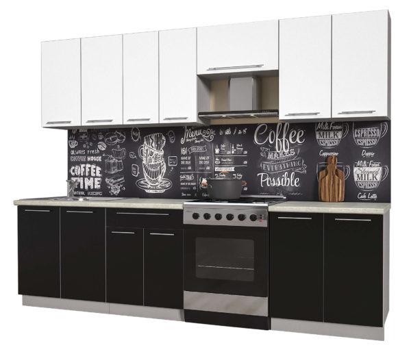 Кухня из пластика Мила 2,7 метра прямая категория А черный белый