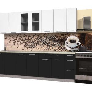 Кухня из пластика Мила 2,7 метра прямая категория Б черный белый