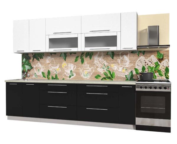 Кухня из пластика Мила 2,7 метра прямая категория В черный белый
