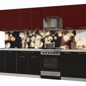 Кухня из пластика Мила 3,0 метра прямая категория А черный бордо