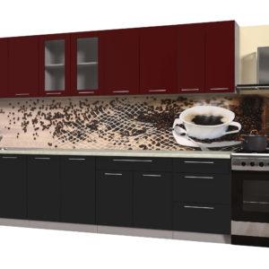 Кухня из пластика Мила 3,0 метра прямая категория Б черный бордо