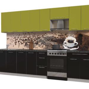 Кухня из пластика Мила 3,2 метра прямая категория А черный оливковый