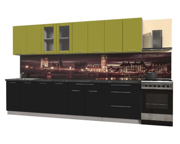 Кухня из пластика Мила 3,2 метра прямая категория Б черный оливковый