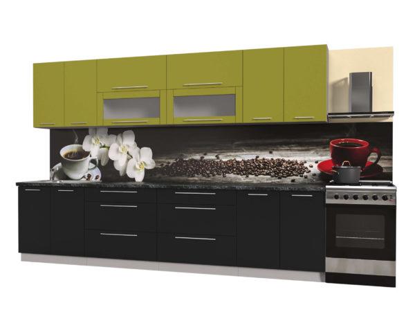 Кухня из пластика Мила 3,2 метра прямая категория В черный оливковый