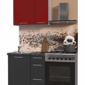 Кухня Мила пластиковая прямая 0,8 метра антрацит – красный