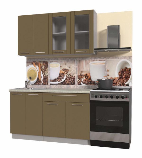 Пластиковая кухня Мила 1,4 метра прямая категория Б капучино