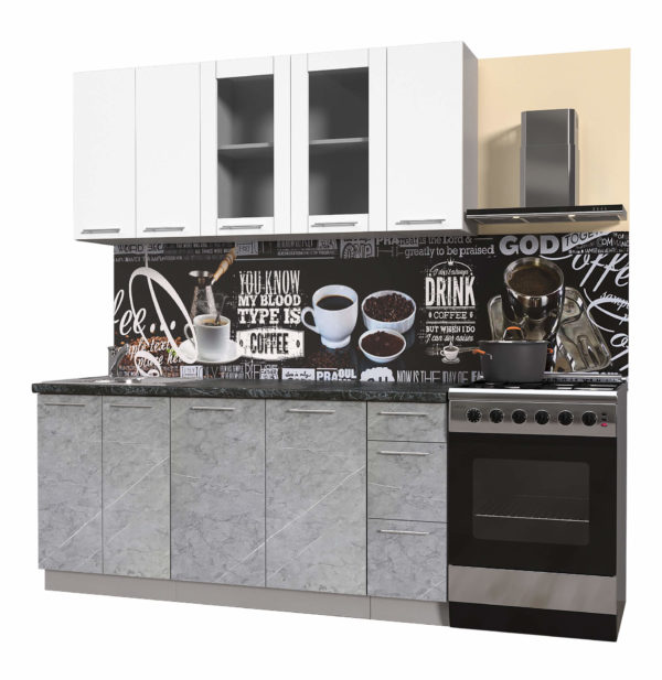 Пластиковая кухня Мила 1,7 метра прямая категория Б мрамор белый
