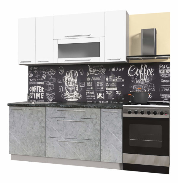 Пластиковая кухня Мила 1,7 метра прямая категория В мрамор белый