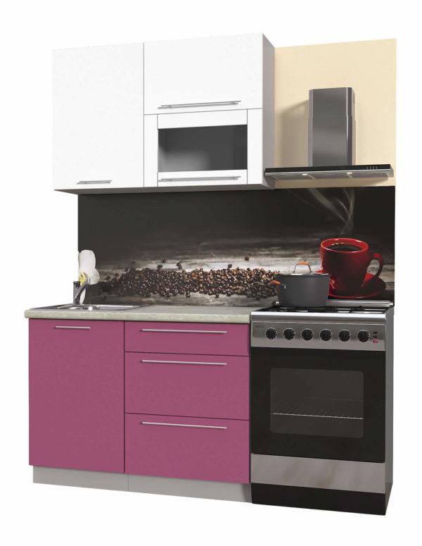 Пластиковая кухня Мила 1,1 метра категория В прямая гортензия белый