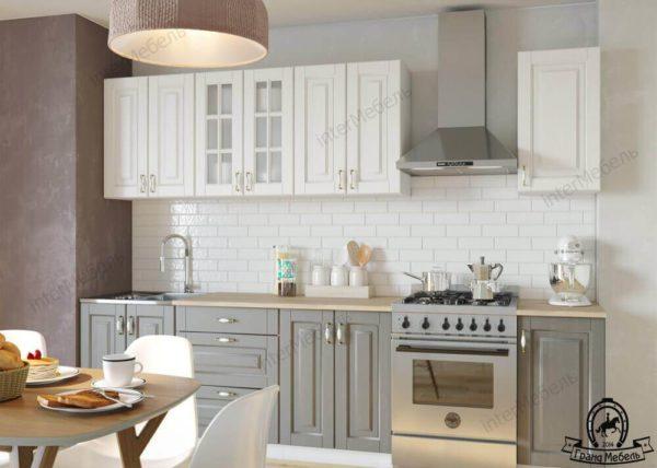 Кухня Бостон 7 МДФ прямая 2,2 метра акация белая акация графит